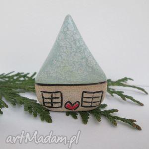 malutki domek miętowy, domek, stojący, ceramiczny, krasnoludkowy, dom, unikalny