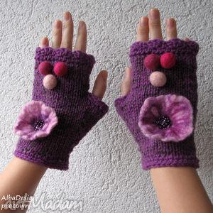 mitenki - fiolet - rękawiczki, mitenki, filc, wełna, kwiat, dodatki