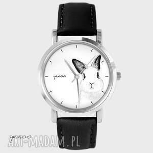 zegarek, bransoletka - królik czarny, skórzany, królik, zając, skórzany