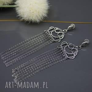 Długie, srebrne kolczyki Dorn , wire-wrapping, chwosty,