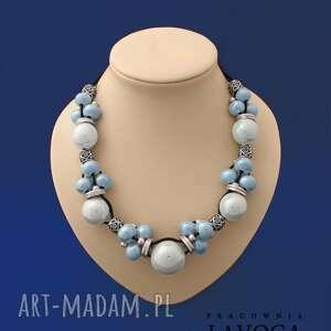 ręcznie zrobione naszyjniki safira - naszyjnik wykonany z naturalnego rzemienia z elementami ceramicznymi