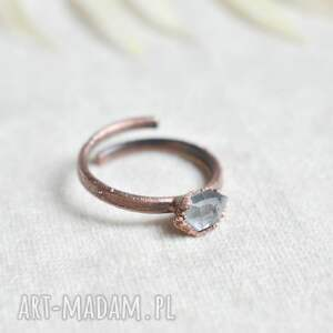pure - pierścionek z diamentem herkimer, herkimer