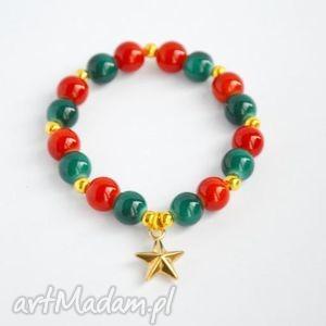bracelet by sis złota gwiazdka w kolorowych koralach, gwiazdka, korale, prezent
