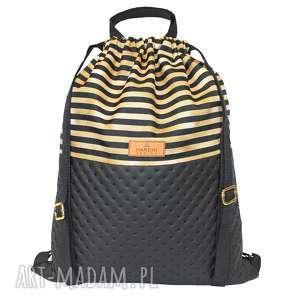 hand-made plecak eko skóra złote pasy