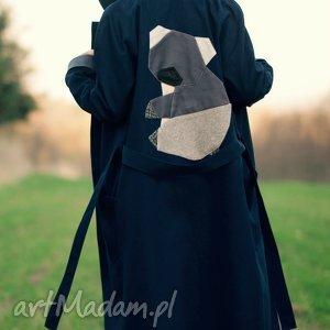handmade płaszcze granatowy miś