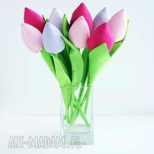 tulipany bukiet 9 sztuk bawełnianych kwiatów - kolorowe tulipany z materiału