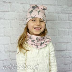 cienki komplet dla dziewczynki czapka komin opaska bukiet - dziewczynka