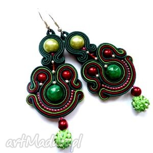 kolczyki sutasz z zielonym marmurem góralskie kolory