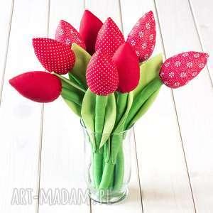 dekoracje tulipany czerwony bawełniany bukiet, tulipany, kwiaty, prezent