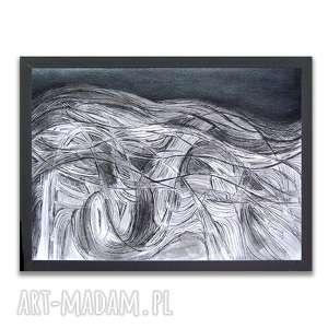 biało czarny rysunek, abstrakcja czarno biały obraz, morze rysunek