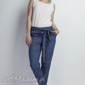 jeansowe spodnie z szarfą, sd110 jeans, wiązane, kokardka, kieszenie