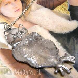 Naszyjnik: sowa z surowym kryształem górskim naszyjniki witrazka