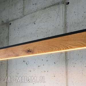 Lampa RIFT-100cm-Dąb-Dół-Listwa Czarna , lampa, stół, sufitowa, drewniana, wyspę,