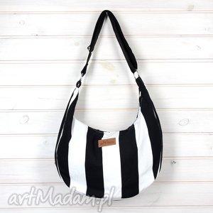 torba hobo w paski black and white, torebka, listonoszka, paski, bawelna, pojemna