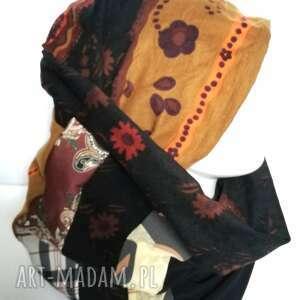Czapka damska i komin patchworkowy handmade czapki ruda klara