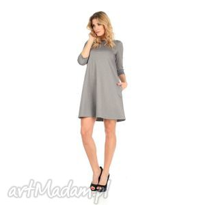 sukienka rozkloszowana j szara,krótka, lalu, sukienka, dzianina, kieszenie