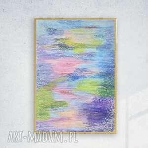 pastelowa abstrakcja w ramce, oprawiony rysunek abstrakcyjny, kolorowy szkic