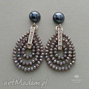 Kolczyki z kryształkami Marlena, sztyfty, kryształki, stal, metal, cyrkonie, szkło