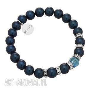 morska bransoletka perły petrol kryształy swarovski®, indicolite