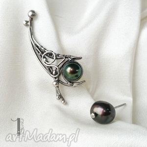 koi - nausznica i sztyft z czarną perłą, kolczyki, nausznica, perła