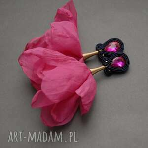 kolczyki sutasz z kwiatkiem, sznurek, kwiat, wiszące, eleganckie, fuksja