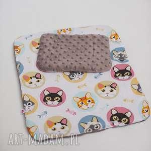 Pościel dla lalek w kotki z minky, pościel, kotki, dziewczynka, lala, łóżeczko, minky