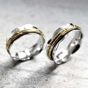 925 srebrny pierścionek medytacja madamlili - kamień, pozlacany
