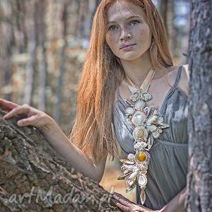 Kremowo-złoty ślubny naszyjnik - ,ślub,wesle,barokowy,suatsz,soutache,
