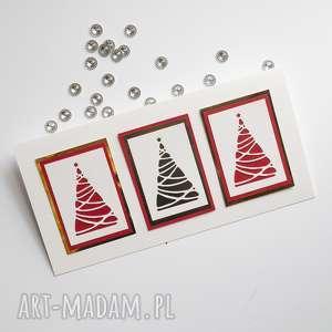 kartki świąteczne - 3 drzewka, świąteczne, bożonarodzeniowe