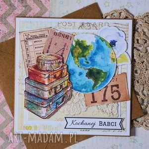 unikalny, kartka - kochanej babci, kartka, babcia, urodziny, podróże, vintage
