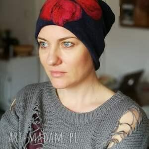 czapka handmade wełniana z kwiatem, wełna, kwiaty, czapka, damska, etno, folk