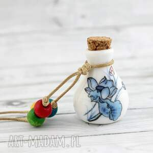 cermiczna buteleczka - wisior, butelka, ceramika, koraliki, sznurek, regulowany