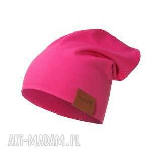 ręcznie wykonane czapka podwójna amarantowa