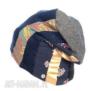 prezent na święta, czapka damska patchworkowa, czapka, damska, patchworkowa