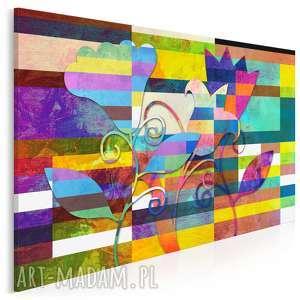 Obraz na płótnie - kolorowe kwiaty 120x80 cm 43601 vaku dsgn