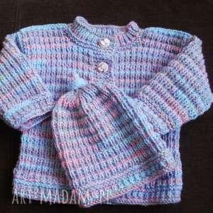 komplecik melanżowy, komplet, niemowlę, sweterek, czapeczka, prezent