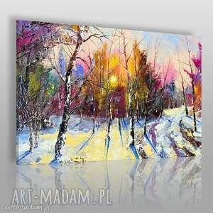ręcznie zrobione obrazy obraz na płótnie - las zima drzewa - 120x80 cm (62601)