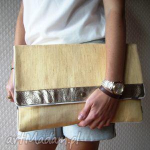 kopertówka xl żółta pastele pasy złota skóra, kopertówka, xl, skórzana, metalik