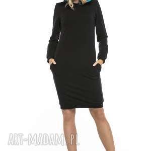 Sukienka sportowa z kapturem i kieszeniami, T249, czarny niebieski, sukienka