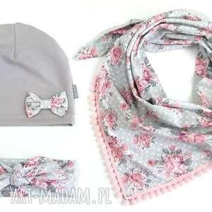 Komplet wiosenny, czapka, chusta i opaska, pinup, wiosna, bawełna,