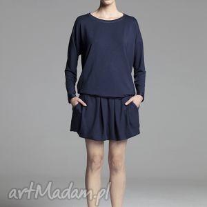 Bluzka Simple navy blue, bluzka, wiskoza, długi, rękaw, gumka, marszczenie