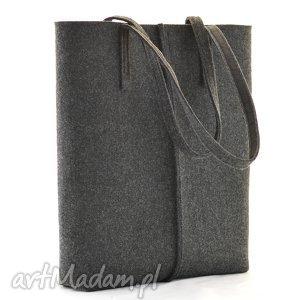 duża grafitowa torebka z filcu- minimalistyczna- a4 - wysoka, filc, filcowa