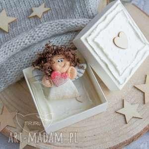hand-made kartki mini warstwowa kartka, aniołek stróż, pudełeczko - zestaw anielski na każdą okazję