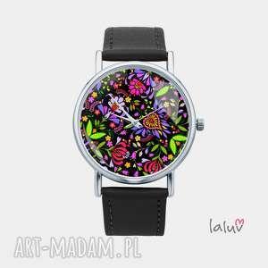 Prezent Zegarek z grafiką FLOWER POWER, kwiaty, folk, ludowe, folklor, prezent, hipis