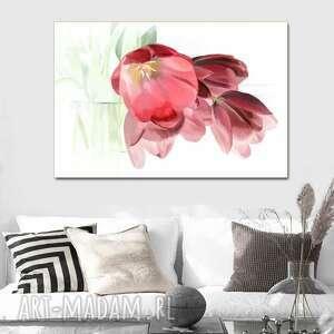 obraz na płótnie tulipany romantyczne 120x80, nowoczesny z kwiatami