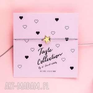 whw taste gold star on steel string, sznurkowa, sznureczkowa, delikatna, celebrytka