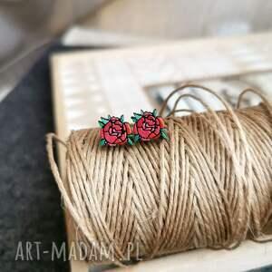 świąteczny prezent, kolcyzki piwonia, kwiaty, sztyfty, ręcznie malowane, piwonia