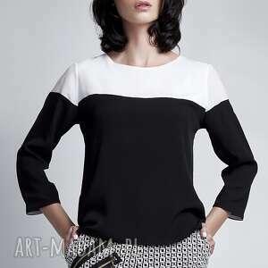 Bluzka, BLU117 biały/czarny, czarnobiały, mgiełka, lekka, jedwabista, delikatna