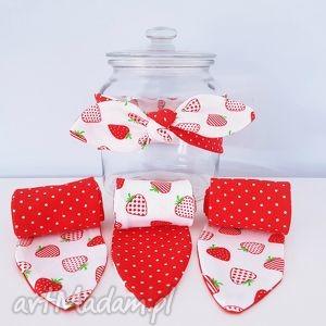 opaska dzianinowa pin up truskawki - ,opaska,pinup,wiązana,truskawki,kropki,dzianina,
