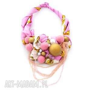 naszyjniki pink-pong naszyjnik handmade, naszyjnik, róż, różowy, złoty